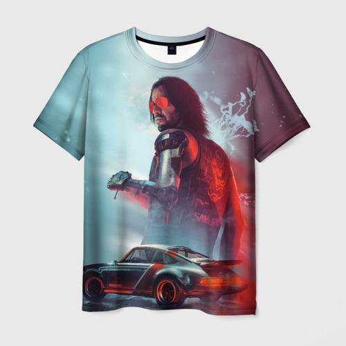 Мужская 3D футболка Cyberpunk 2077 | Джонни и Порш