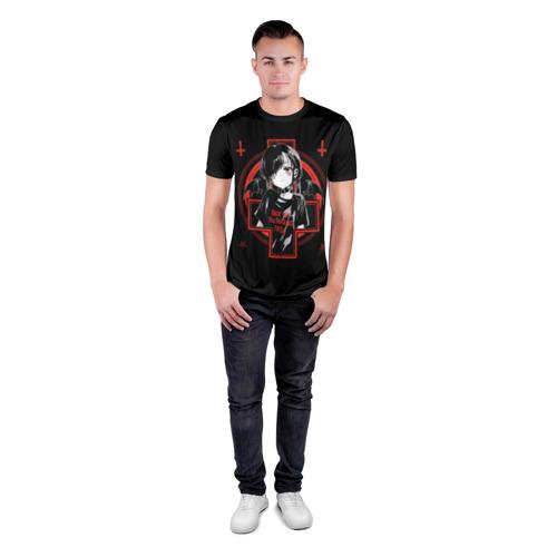 Мужская футболка 3D спортивная с принтом SATANIC, вид сбоку #3