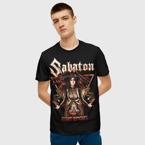 Мужская 3D футболка с принтом Sabaton, фото на моделе #1