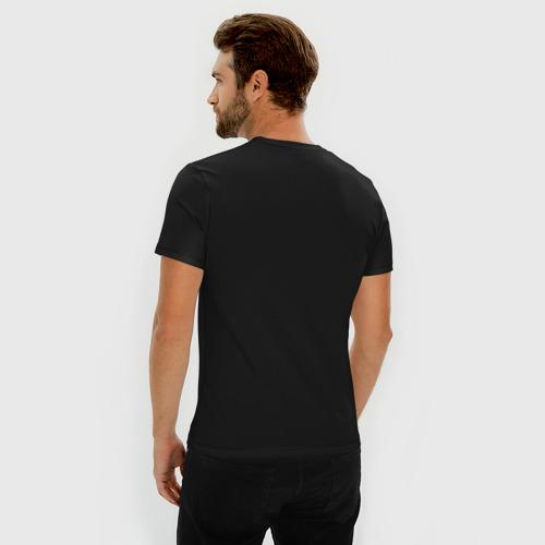 Мужская футболка премиум с принтом Космонавт верхом на динозавре, вид сзади #2