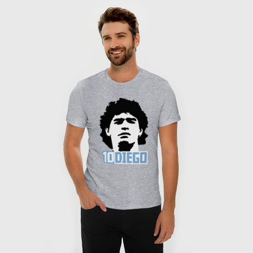 Мужская футболка премиум с принтом Марадона, фото на моделе #1