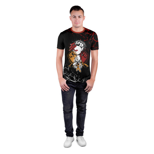 Мужская футболка 3D спортивная с принтом Кулаки Сайтамы, вид сбоку #3