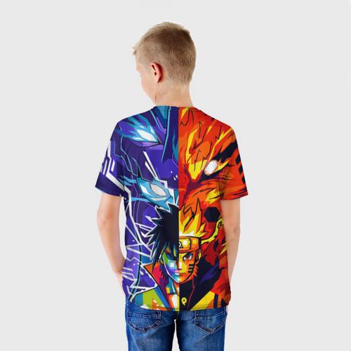 Детская 3D футболка с принтом Наруто и Саске Сусано Курама, вид сзади #2