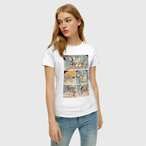 Женская футболка с принтом Том и Джерри комикс, фото на моделе #1