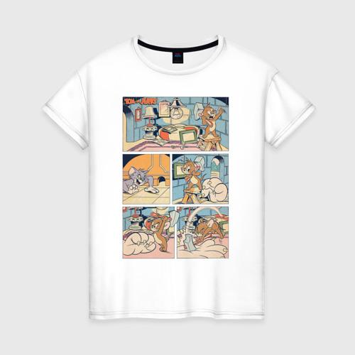 Женская футболка с принтом Том и Джерри комикс, вид спереди #2