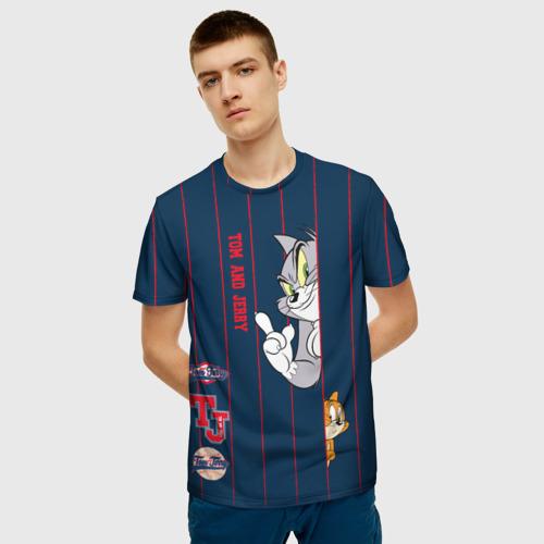 Мужская 3D футболка с принтом Tom and Jerry, фото на моделе #1