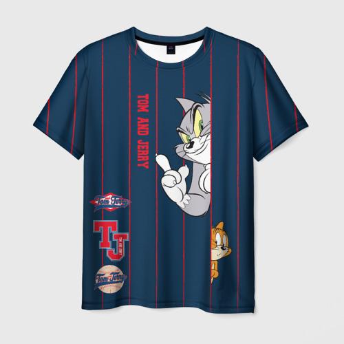 Мужская 3D футболка с принтом Tom and Jerry, вид спереди #2