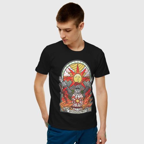 Мужская футболка с принтом Восхваляя солнце | Dark souls, фото на моделе #1