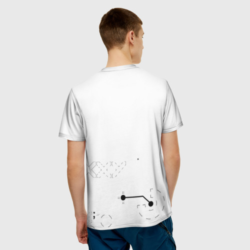 Мужская 3D футболка с принтом Printstream style | Поток информации (Белизна1,Перламутр1), вид сзади #2