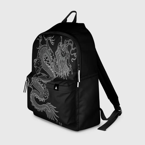 Рюкзак 3D с принтом ЧБ Дракон, вид спереди #2