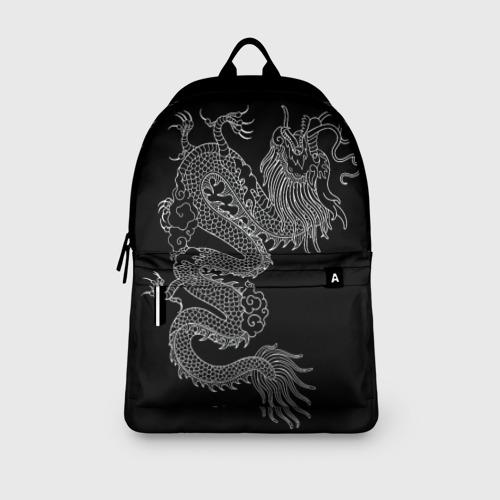 Рюкзак 3D с принтом ЧБ Дракон, вид сбоку #3