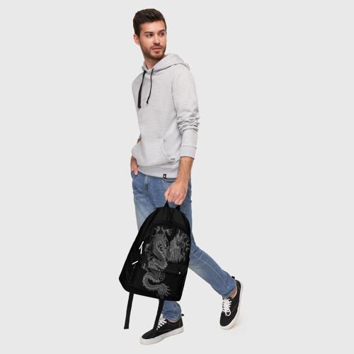 Рюкзак 3D с принтом ЧБ Дракон, фото #5