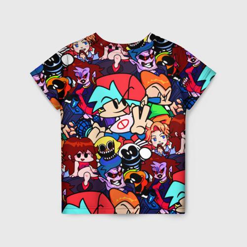 Детская 3D футболка с принтом Friday Night Funkin (все герои), вид сзади #1
