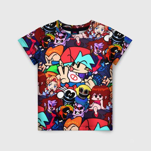 Детская 3D футболка с принтом Friday Night Funkin (все герои), вид спереди #2