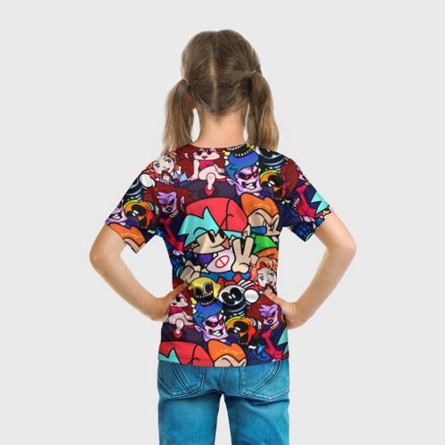 Детская 3D футболка с принтом Friday Night Funkin (все герои), вид сзади #2
