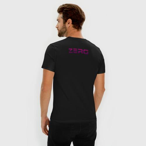 Мужская футболка премиум с принтом Zerg logo mini   Purple, вид сзади #2