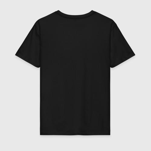 Мужская футболка с принтом Мне пох*й || при наложении нижних точек на верхние получается надпись на русском языке, вид сзади #1