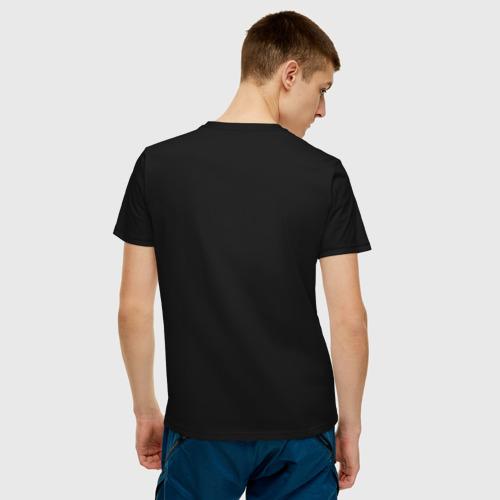 Мужская футболка с принтом Мне пох*й || при наложении нижних точек на верхние получается надпись на русском языке, вид сзади #2
