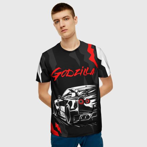 Мужская 3D футболка с принтом NISSAN GT-R / GODZILLA, фото на моделе #1