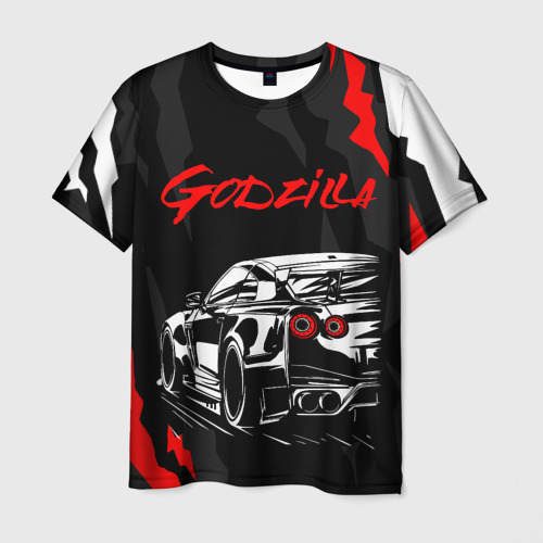 Мужская 3D футболка с принтом NISSAN GT-R / GODZILLA, вид спереди #2