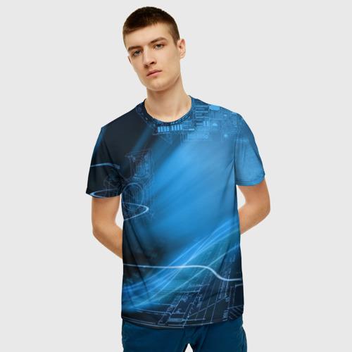 Мужская 3D футболка с принтом Чертеж, фото на моделе #1