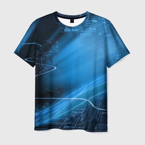 Мужская 3D футболка с принтом Чертеж, вид спереди #2