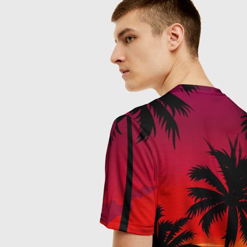 Мужская 3D футболка с принтом Гавайский закат, вид сзади #2