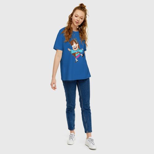 Женская футболка oversize с принтом Поющий свитер Мэйбл, вид сбоку #3