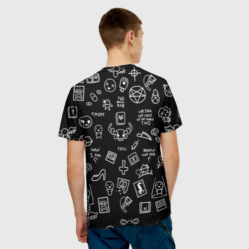 Мужская 3D футболка с принтом THE BINDING OF ISAAC | ЖЕРТВА, вид сзади #2