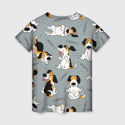 Женская 3D футболка с принтом Собаки Бигли, вид сзади #1