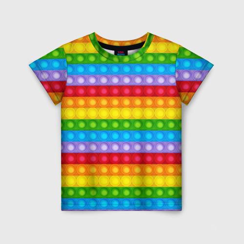 Детская 3D футболка с принтом Pop It, вид спереди #2