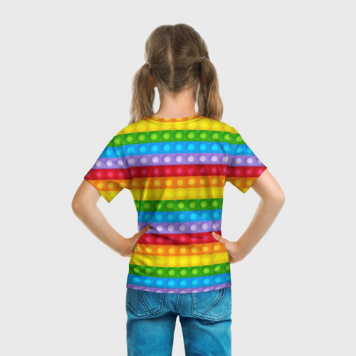 Детская 3D футболка с принтом Pop It, вид сзади #2
