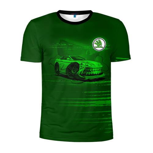 Мужская футболка 3D спортивная с принтом Skoda, вид спереди #2