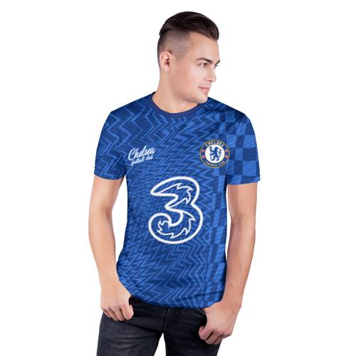 Мужская футболка 3D спортивная с принтом Маунт Челси форма 2021/2022, фото на моделе #1