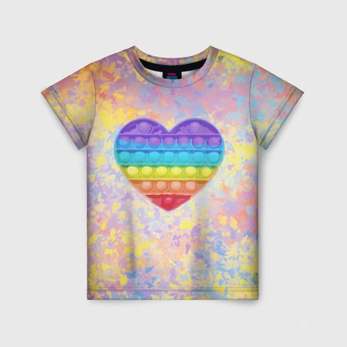 Детская 3D футболка с принтом Я твой поп-ит!, вид спереди #2