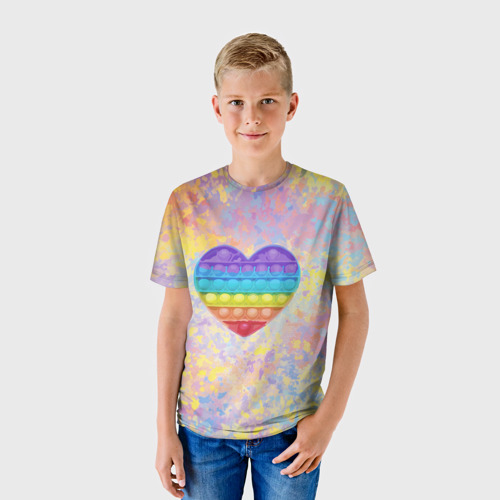 Детская 3D футболка с принтом Я твой поп-ит!, фото на моделе #1