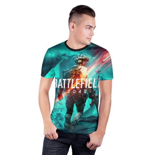 Мужская футболка 3D спортивная с принтом Баттлфилд 2042, фото на моделе #1