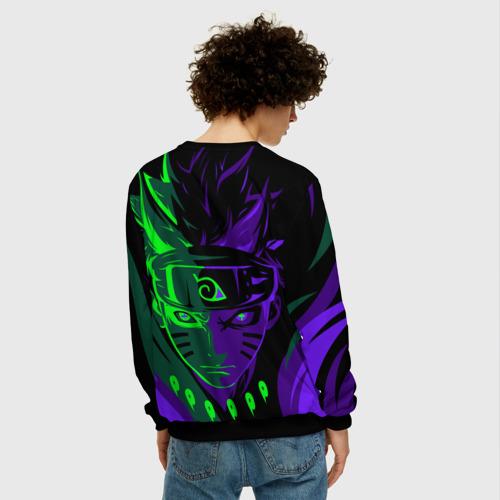 Мужской 3D свитшот с принтом Фиолетово-Зеленый Неон   NEON, вид сзади #2
