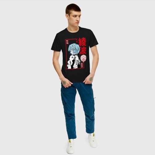 Мужская футболка с принтом Рей Аянами | EVA-00, вид сбоку #3