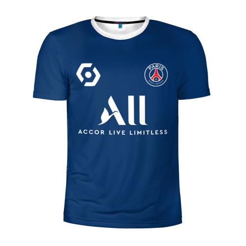 Мужская футболка 3D спортивная с принтом Месси форма ПСЖ 2021/2022, вид спереди #2