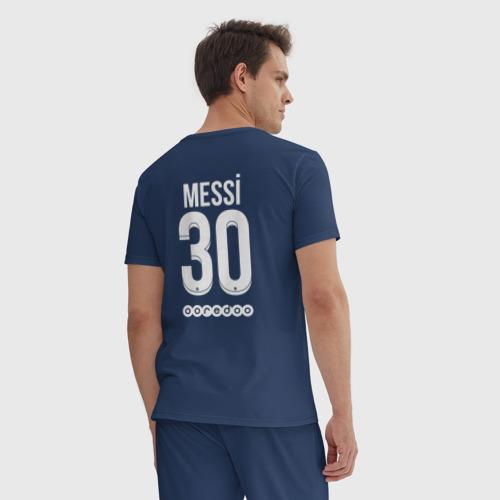 Мужская пижама хлопок с принтом Messi 30 PSG, вид сзади #2