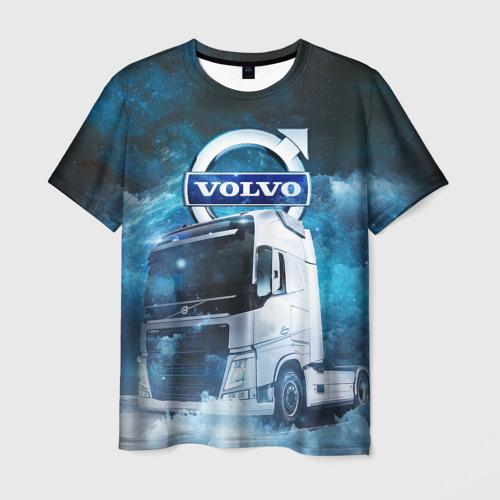 Мужская 3D футболка с принтом Volvo truck, вид спереди #2