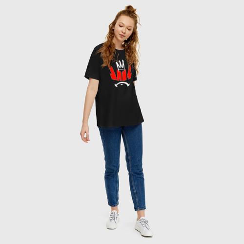 Женская футболка oversize с принтом Импровизация Команды, вид сбоку #3