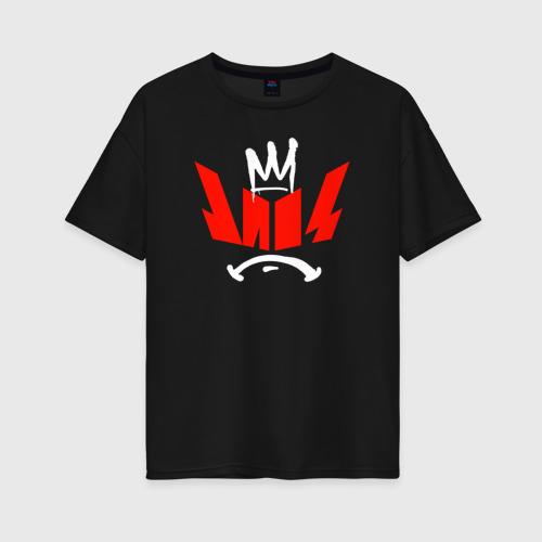 Женская футболка oversize с принтом Импровизация Команды, вид спереди #2