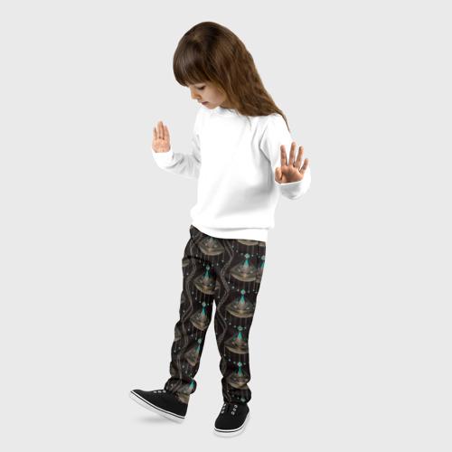 Детские брюки 3D с принтом Трехцветный арт деко, фото на моделе #1