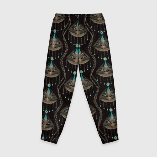 Детские брюки 3D с принтом Трехцветный арт деко, вид сзади #1
