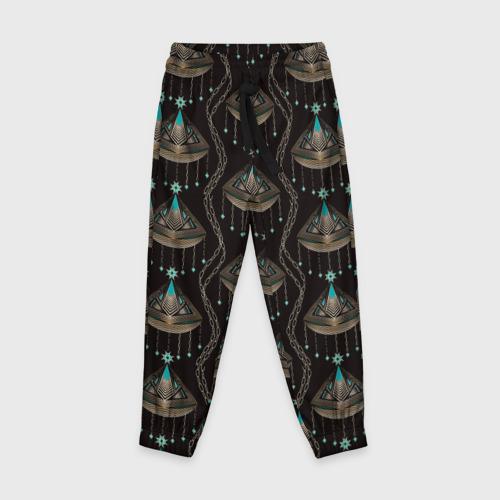 Детские брюки 3D с принтом Трехцветный арт деко, вид спереди #2