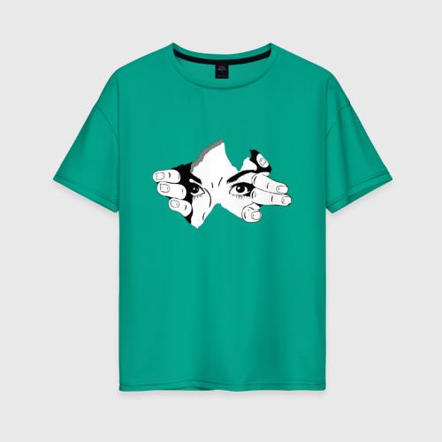 Женская футболка oversize с принтом Смотрю за тобой, вид спереди #2