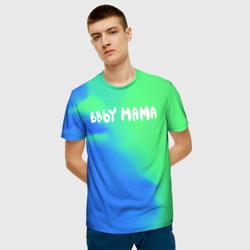 Мужская 3D футболка с принтом Скриптонит Бейби Мама, фото на моделе #1