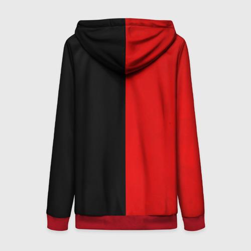 Женская толстовка на молнии с принтом Smail Black and red, вид сзади #1